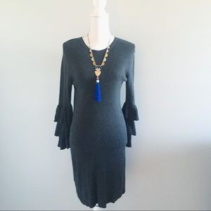 A New Day Gray Ribbed Sweater Dress Ruffle Sleeves